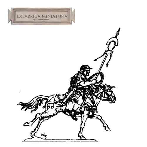 Roman cavalryman, standard bearer, in attack